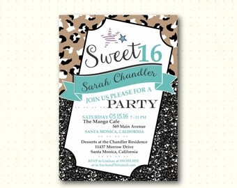 Sweet 16 Birthday Party Invitation, quinceanera, sparkle, leopard, teal, 10th, 11th, 12th, 13th, 16th digital, printable invite K12853