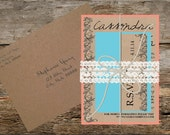 Coral and teal vintage flowers wedding invitation with lace