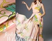 Crepe Satin Plain Silk Fabric Printed Silk Fabric Dress Cheongsam Fabric Bedding Fabric 114cm x 50cm - Fendidahudie - Butterfly