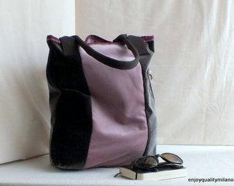 Tote bag in soft brown and ancient pink velvet