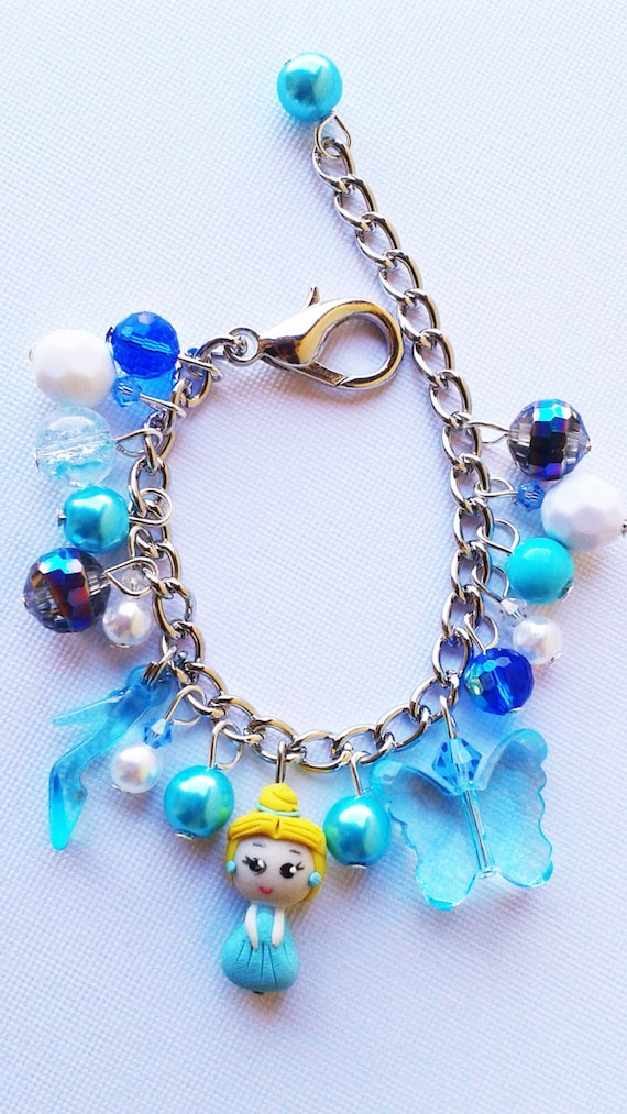 cinderella inspired charm bracelet with slipper and