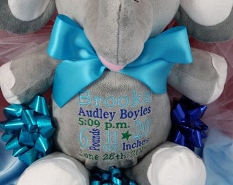 Personalize elephant etsy birth announcement stuffed animal personalized elephant stuffed animal baby gift by felicias fancies baby boutique negle Choice Image