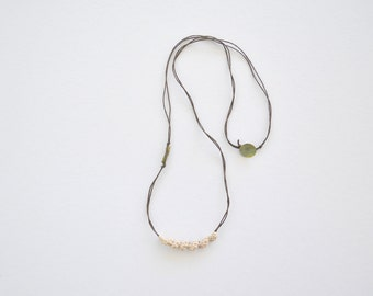 Crochet necklace, natural long necklace, linen cord necklace, pendant necklace, boho jewelry, eco friendly jewelry, beige tribal necklace
