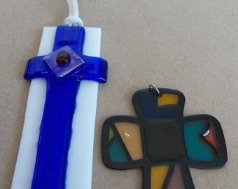 Fused Glass Cross and Stained Glass Cross