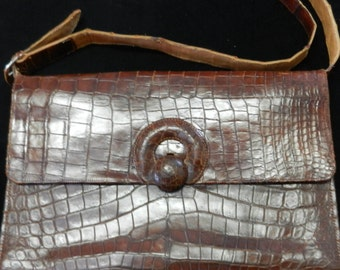 Purse Vintage Leather Faux Alligator
