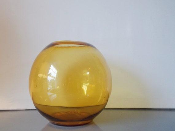 Large vintage blenko style globe vase glass orb fish bowl for Large glass fish bowl