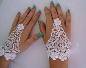 Flower ring Lace Bridal Gloves, Ivory Wedding gloves, Fingerless Lace gloves