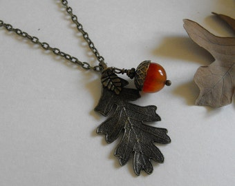Red Agate Acorn Necklace Oak Leaf Necklace Antique Brass Nature Woodland Pendant Necklace  Acorn Jewelry