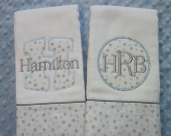 Personalized Baby Boy Burp Cloths