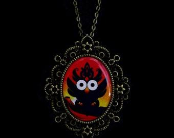 Fire Owl Cameo Necklace