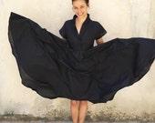 Japanese design-Dark Blue dress-Short sleeve dress-Knee length dress-Spring dress-Cotton Dress-V neck dress-Elegant dress