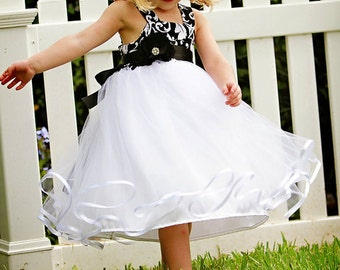 Black and white damask print dress with tulle and ribbon skirt