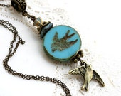 Bird Necklace, Swallow Necklace, Birds jewelry, Blue Beaded Necklace, Turquoise pendant, Woodland Wedding, Bird Pendant, Natural Jewelry