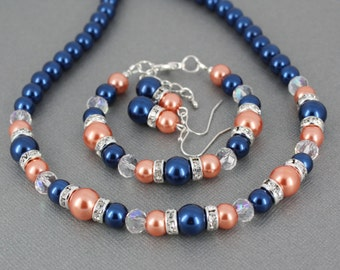 Navy and Coral Jewelry Set, Navy Jewelry, Pearl Bracelet, Navy and Coral Wedding, Navy and Coral Bracelet, Coral and Navy Necklace Set