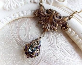 Renaissance necklace vitrail Swarovski crystal necklace baroque rococo crystal bridal bridesmaid gift necklace victorian jewelry