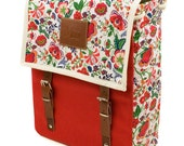 Frida Red Backpack, Canvas and Leather Print Backpack, Mediterranean Inspired, Sunny, Flower Printed Bag, Women's Backpack