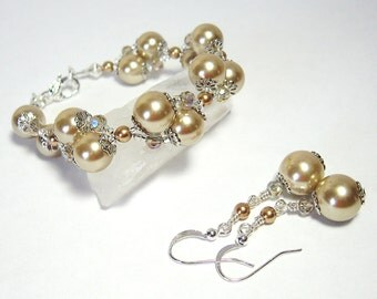 Champagne Pearl & Crystal Bracelet - Earrings Set, Wedding Jewelry, Mother of the Bride, Bridesmaid