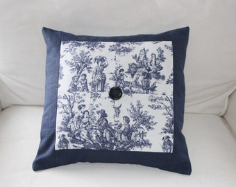 Quilted Rustic Navy Blue Pillow