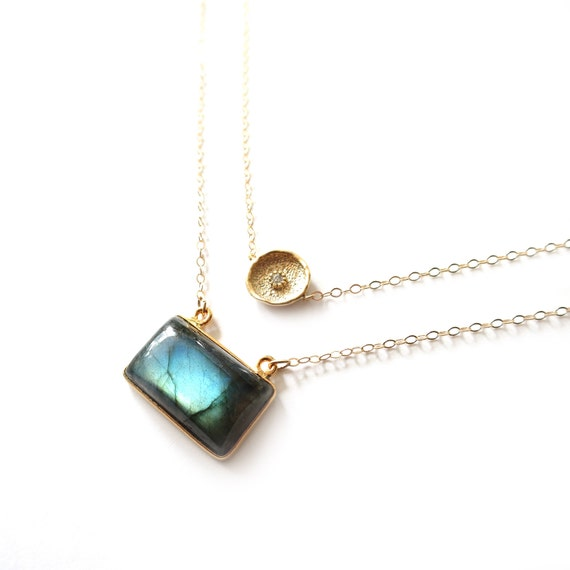 Gold Coin and Rectangle Labradorite Layer Necklace