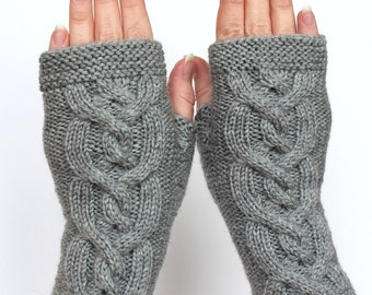 Hand Knitted Fingerless Gloves,  Grey, Gloves & Mittens, Gift Ideas, For Her, Made to order In Your Color