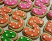 Mini Number Cookies - Polka Dots (3 dozen)