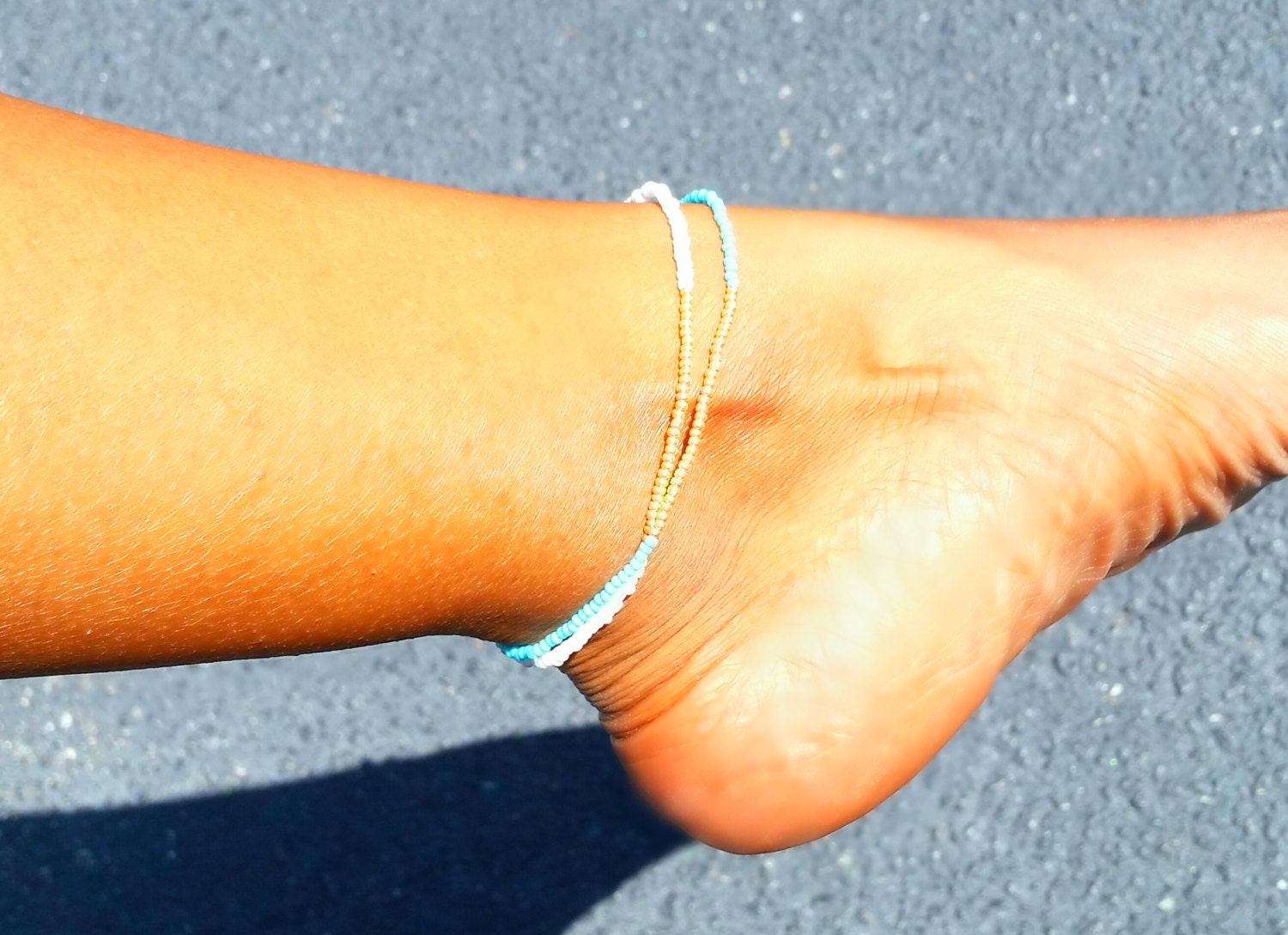 colorblock anklet minimalist anklet 11 0 seed beaded