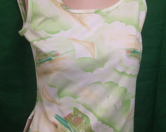 Vintage Polyester Tank Top with Kite Flying Beach Scene