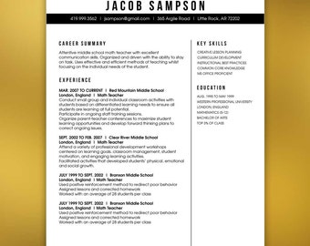 Masculine Resume Template Teachers or Any Profession - 4 Piece Package - Mac or PC - Microsoft Word and Adobe Indesign - SAMPSON