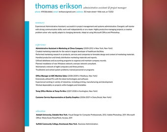 Creative Resume & Cover Letter Template - Blue/Teal Clean Template Package - Resume Design, Cover Letter Design - Assistant Resume | ERIKSON