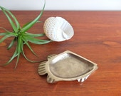 French signed brass fish ashtray / dish, 1950s