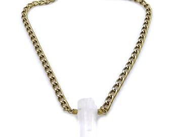 SALE Must Have Clear Quartz Pendant Chain Necklace