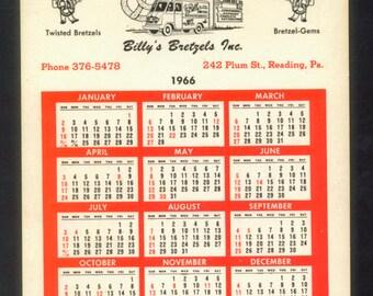 1966 Calendar - Billy's Bretzels Advertisement