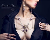 Couture Filigree and Swarovski Crystal Necklace & Earring Jewelry Set