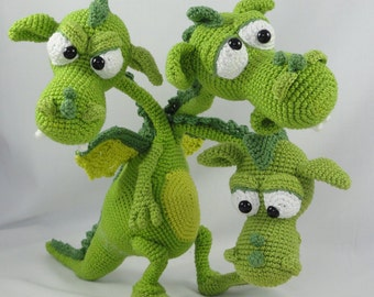 Amigurumi Crochet Pattern - Brutus-Brian-Boris the Three Headed Dragon