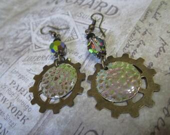 Steampunk, Boho, Rustic Iridescent Earrings