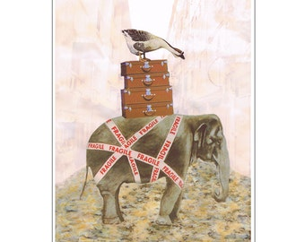 Elephant with goose - Coco de Paris, acrylic painting print, elephant print, goose print, elephant painting, goose painting, elephant poster
