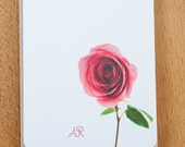 Red Rose Personalized Stationery Set, Romantic stationary Cards, Custom Classic Stationery Gift for Her