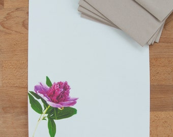 Letter Writing Set - Pink Peony  - Letter Paper Stationery - Gift