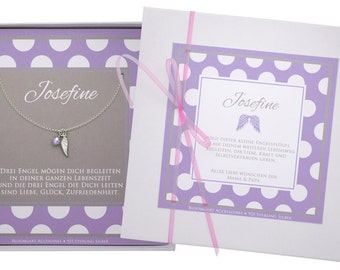 Sterling Angel Wings - baptism chain necklace
