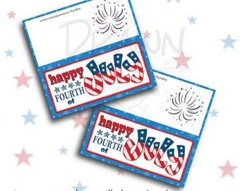 Happy Fourth of July Bag Topper, Printable, 4th of July, customizable
