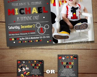 Mickey Mouse Invitation, Mickey Birthday Invitation, Mickey Mouse Clubhouse, Photo Invitation, Printable, Chalkboard, Free Thank You DIY