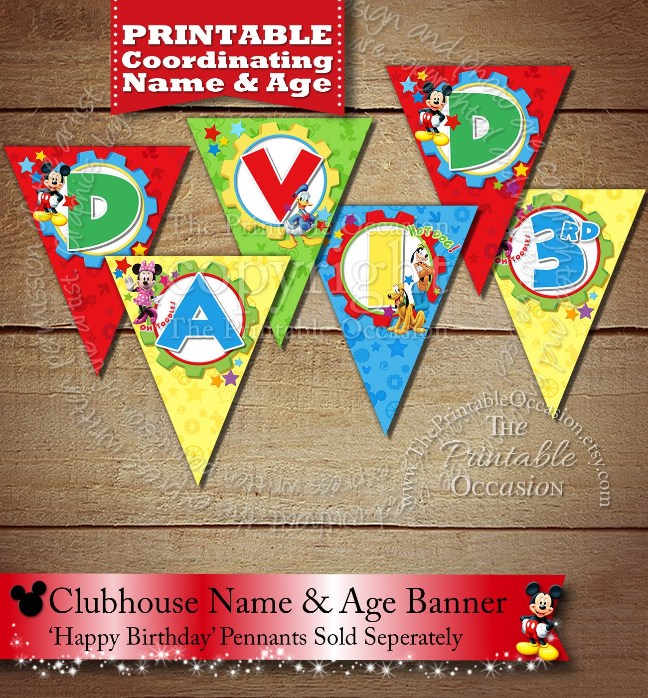 SPELL CHILDs NAME Mickey Minnie Mouse Happy Birthday Banner