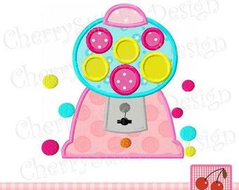 Gumball Machine  Embroidery Applique Design -4x4 5x7 6x10 hoop