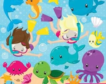 Snorkeling kids girl clipart, Scuba diving commercial use, beach vector graphics, ocean digital clip art, CL872
