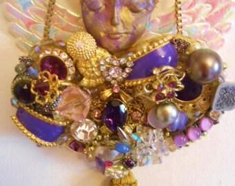 Artdoll Assemblage, June Birthstone, Jewelry Collage, Salvaged Art, Flea Market Art, Repurposed Material, Mixed Media Purple, Purple Wall
