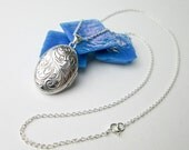 "1980s Hand Engraved Oval Locket Necklace, Sterling Silver, Vintage, 18"" Chain, Unused Inventory, USA."