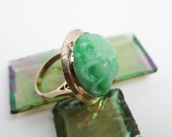Antique Chinese Jadeite Ring, Genuine Carved Apple Jade Lotus, 14K Rose Gold, NOT Dyed, Thailand Hallmark.