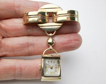 Art Deco Authentic 30s Ladies Lapel Watch, 17.4gms 14K Gold, Works, Wind Up, Swiss Movement, USA.