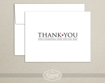 Wedding Planner Thank You Card - Thank You for Planning Our Special Day - Wedding Vendor Thank You Card - Note Card