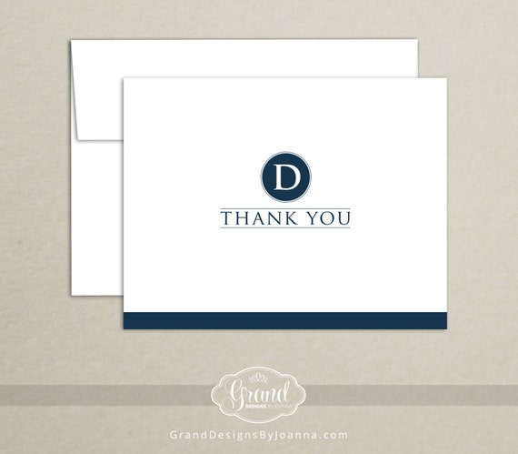 Monogram Thank You Card (Set of 10) - Personalized Custom Stationery - Wedding Thank You Notecard